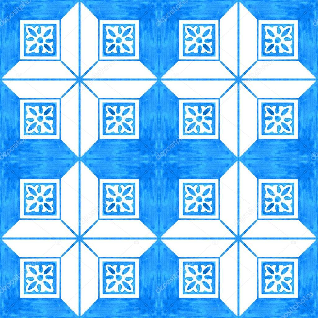 Portuguese azulejo tiles. Watercolor seamless pattern