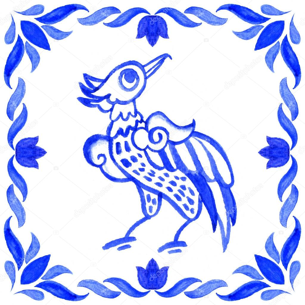 Portuguese azulejo tiles. Watercolor seamless pattern with bird