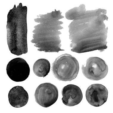 Set of watercolor spots in grimy grey