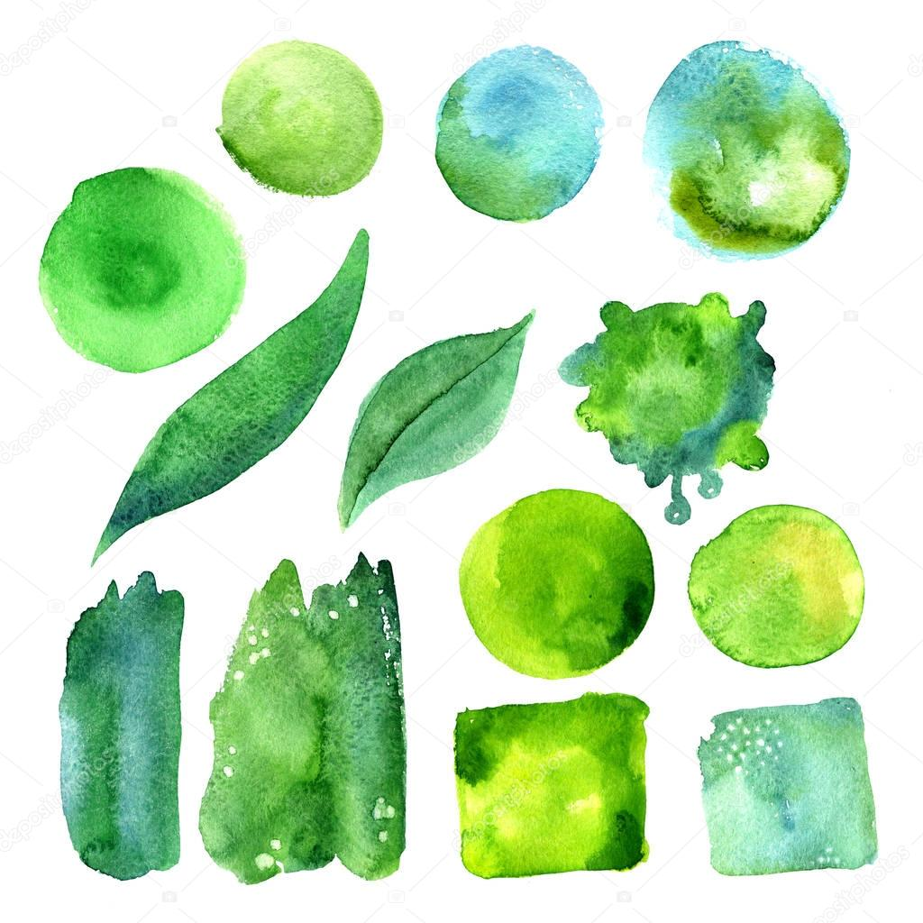 Set of watercolor stains of greenery color.