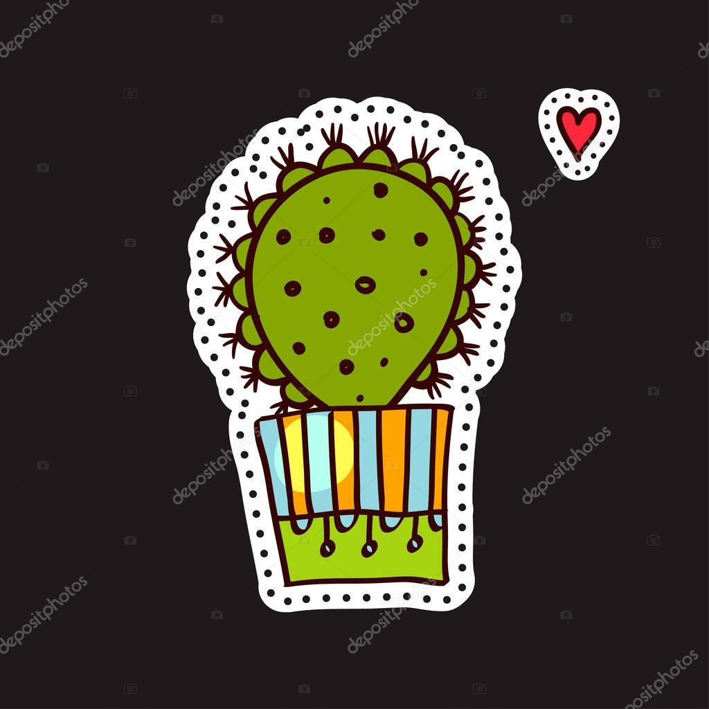 Fashion patches, brooches with cacti