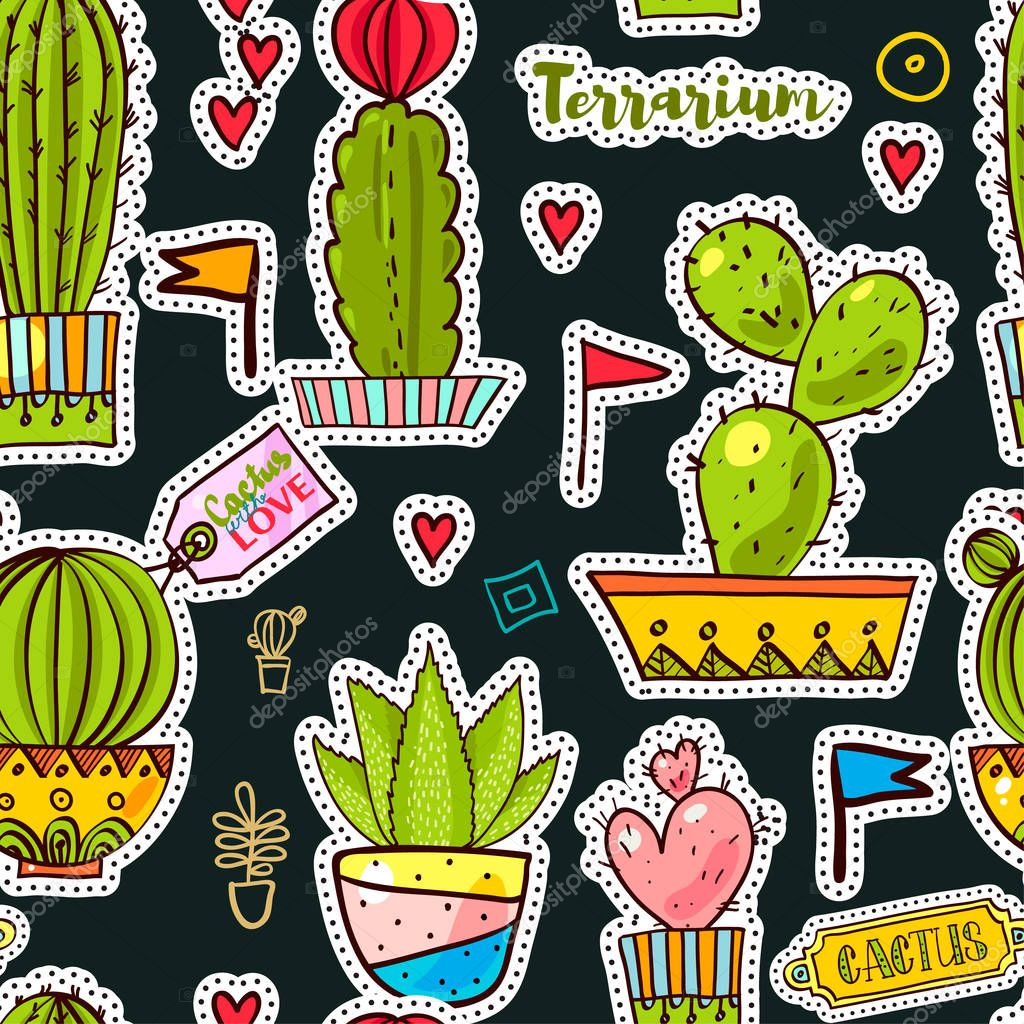 Set Fashion patches, brooches with cacti