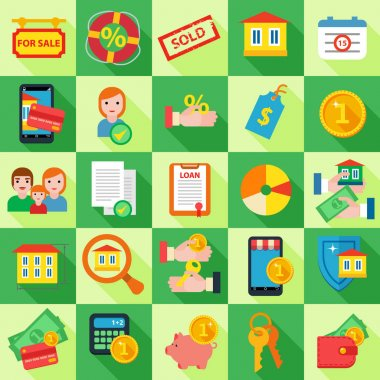 Set of mortgage loan icons