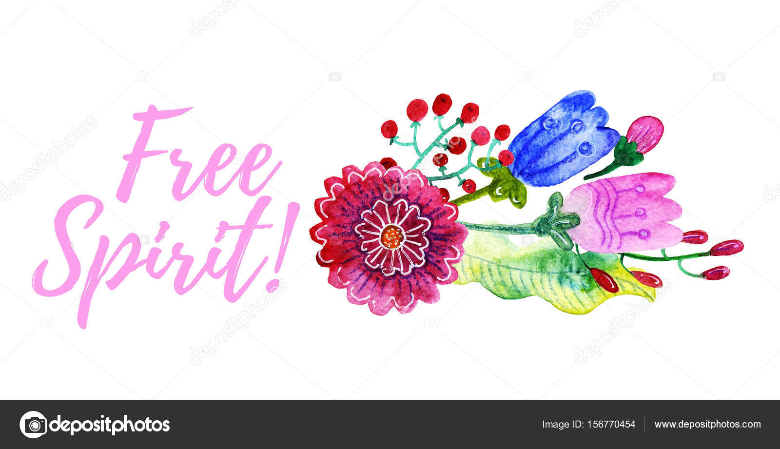 Watercolor gentle bouquet of flowers stock photo belopoppa lettering free spirit watercolor gentle bouquet of flowers isolated on white background banner print for t shirts pillows postcards photo by belopoppa izmirmasajfo