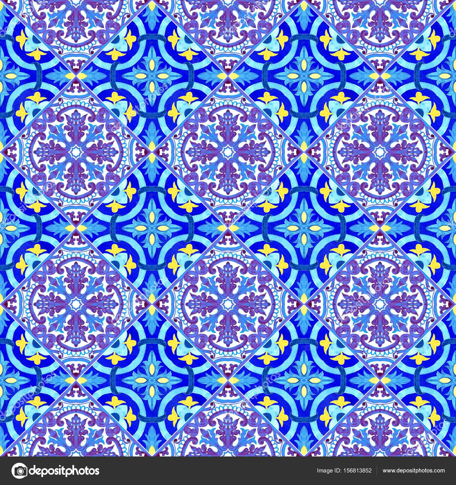Salle De Bain Discac Loft ~ Carreaux Azulejos Portugais Mod Le Sans Couture Aquarelle