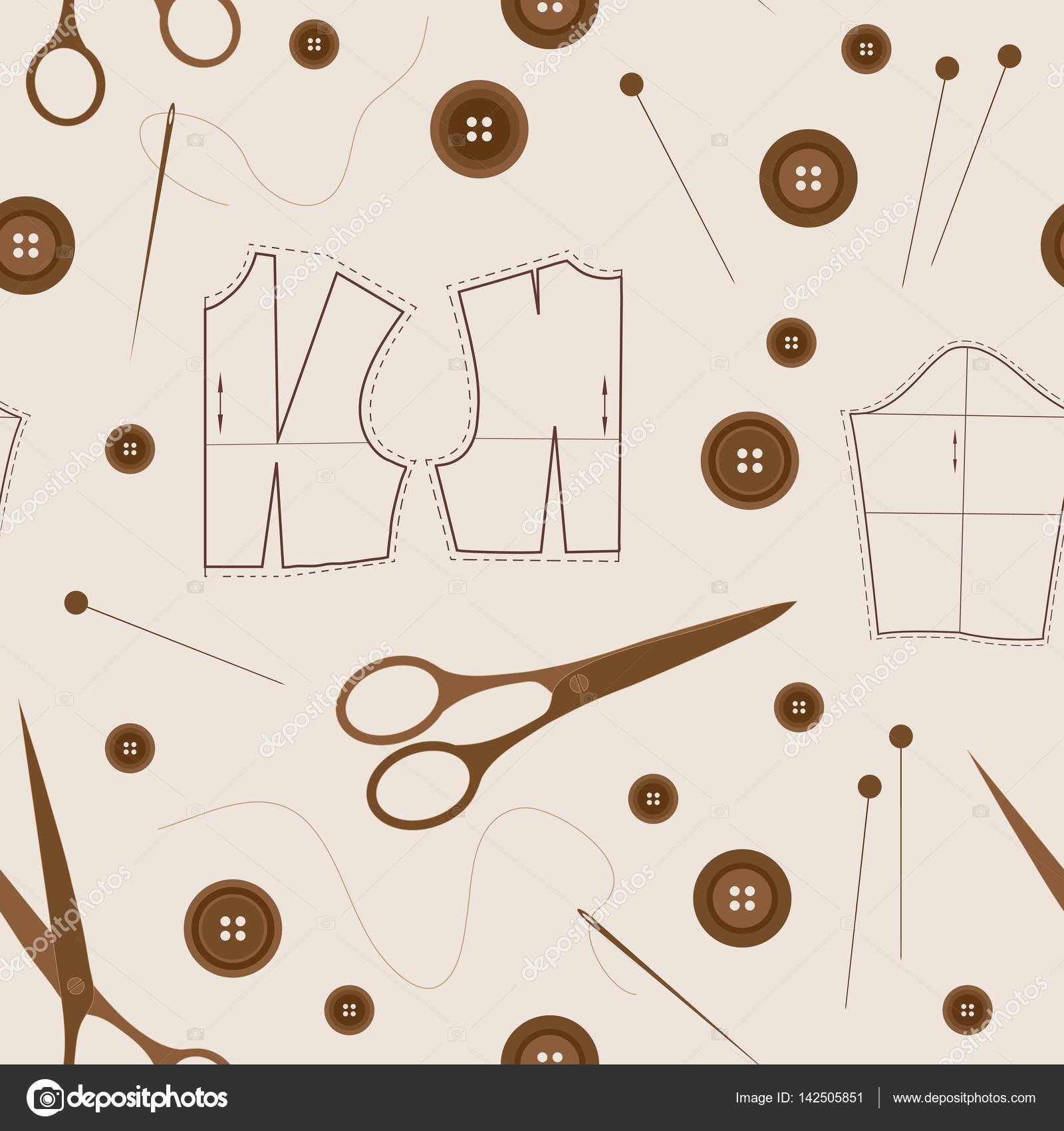 Nahtlose Muster mit Nähzeug — Stockvektor © tktyfujvfp@gmail.com ...