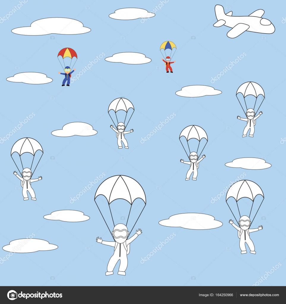 Paracaidistas para colorear. Páginas para colorear para niños ...