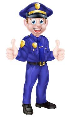 Cartoon Policeman Giving Thumbs Up