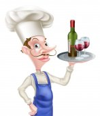 Karikatura víno kuchař