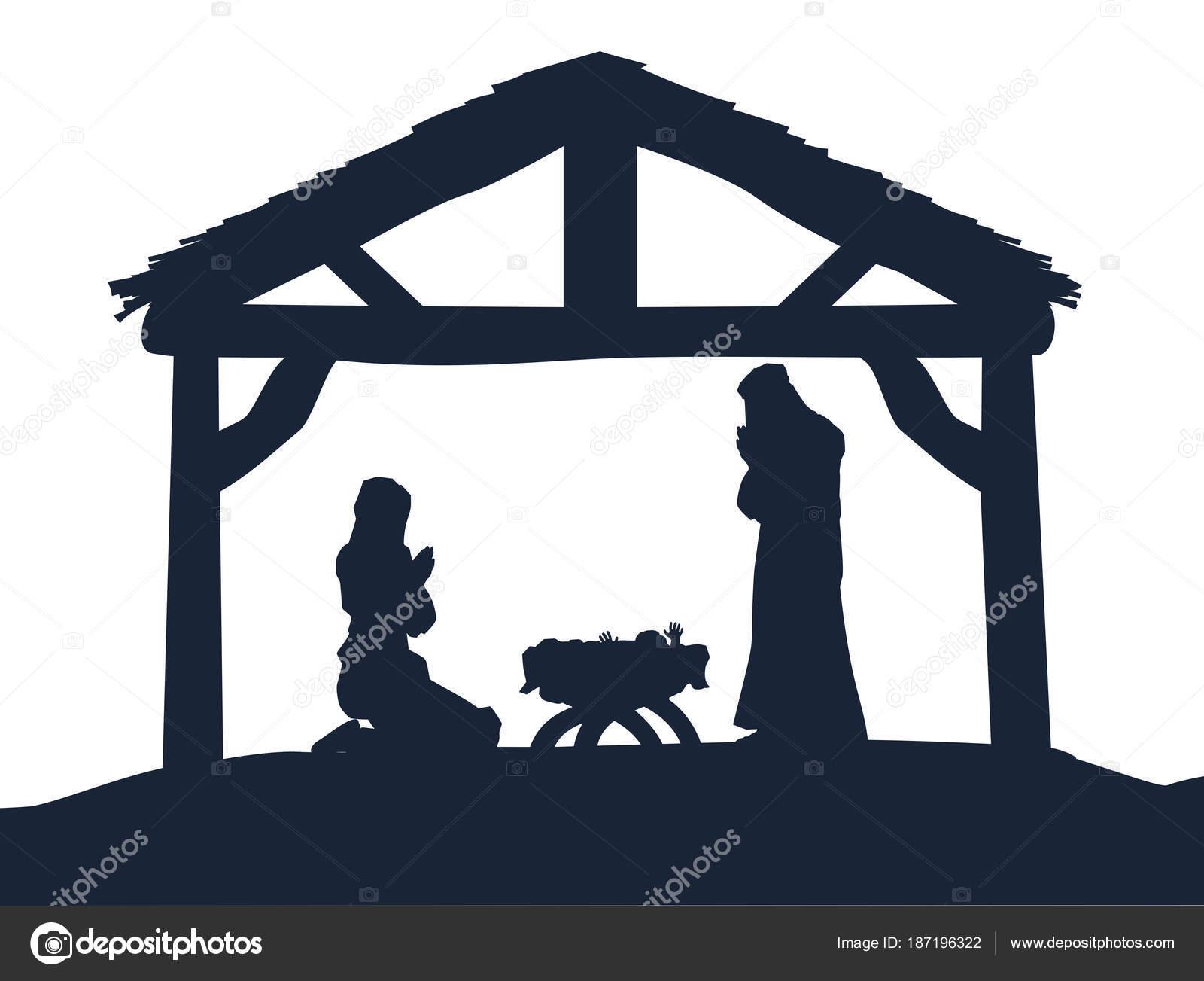 Christian Krippe Weihnachten Szene Silhouetten — Stockvektor ...