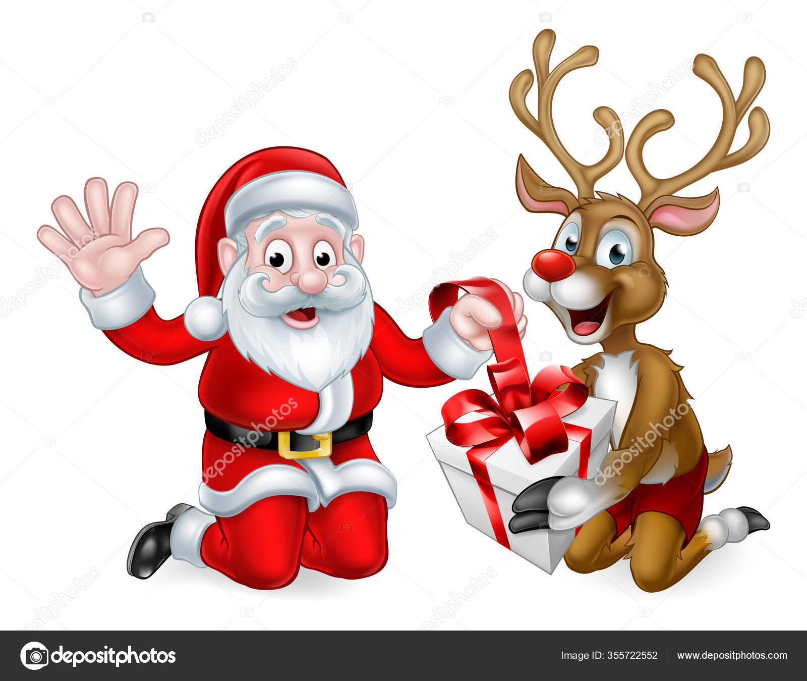 weihnachtsmann und rentier mit weihnachtsgeschenk