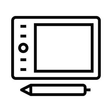 Pen Tablet Thin Line Vector Icon