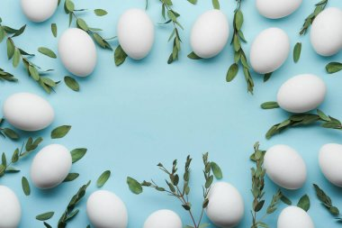 Eggs and greens background for Easter