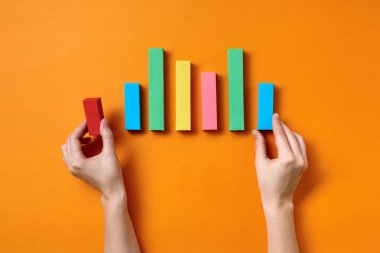 Paper bar charts of growth infographics