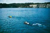 Potápěči v jezeře