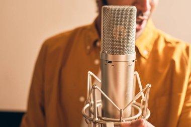 Man singing in the music studio