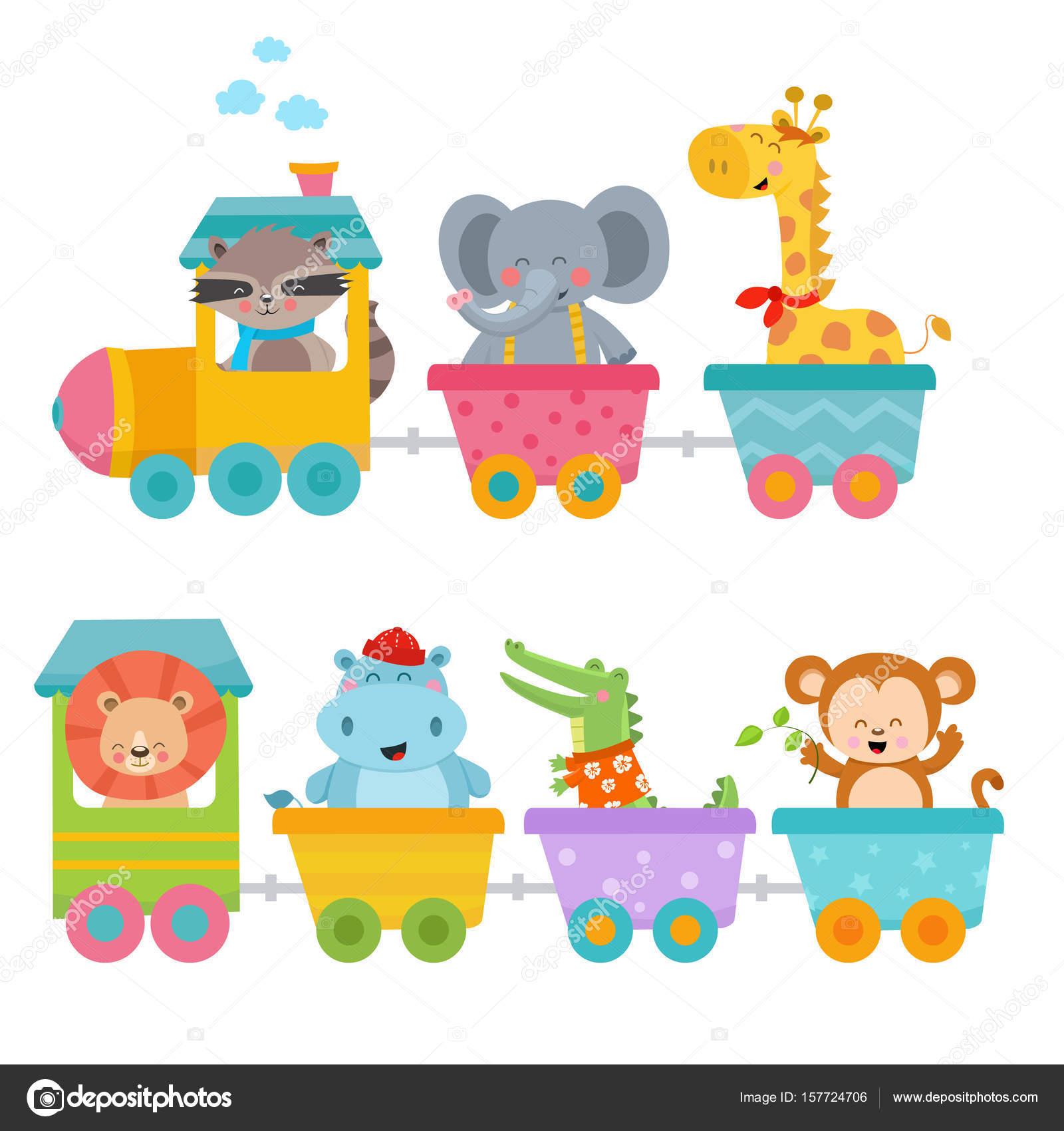 기차에 귀여운 동물 — 스톡 벡터 © PinarInce #157724706