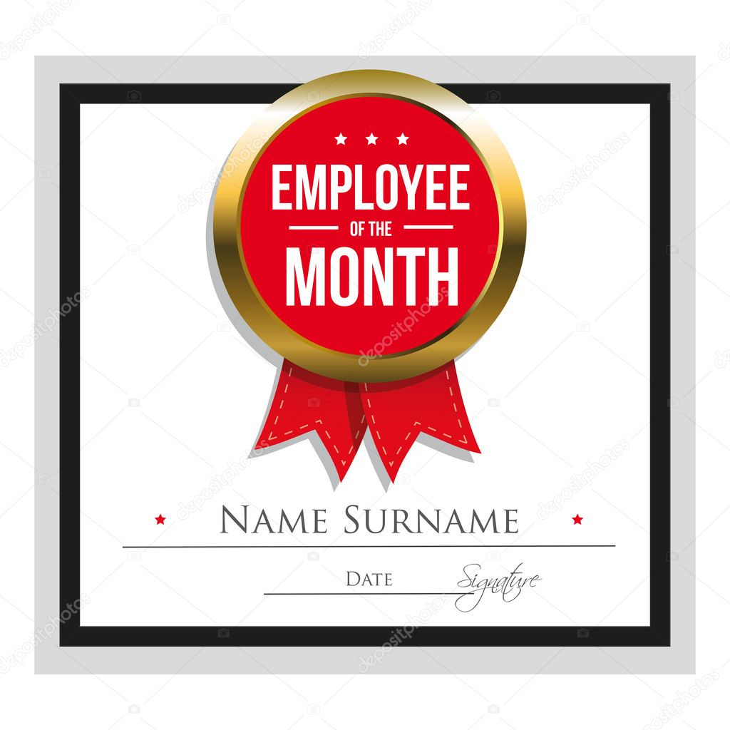 Employee Of The Month Certificate Template Stock Vector