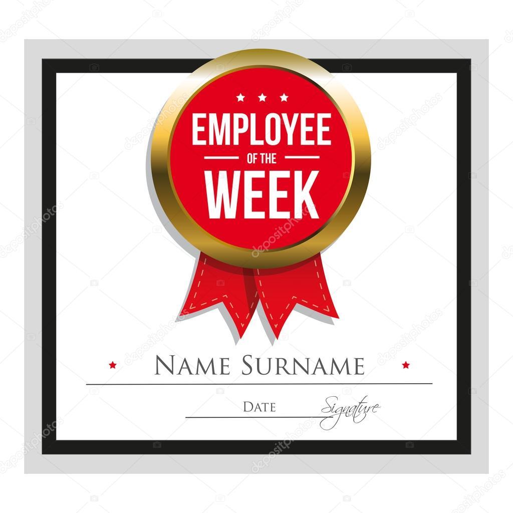 Mitarbeiter der Woche Zertifikatvorlage — Stockvektor © Grounder ...