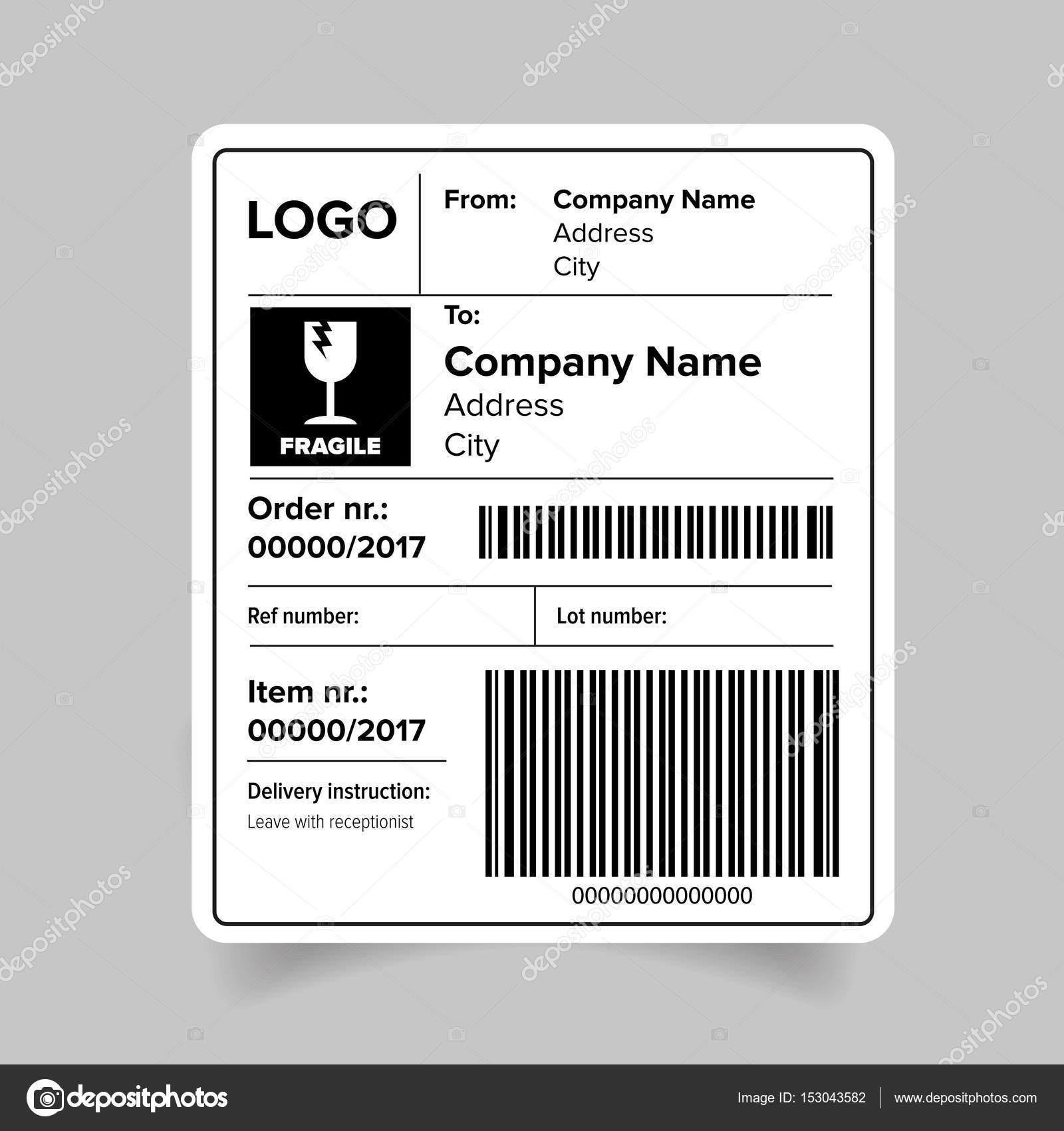 Versand Etikettenvorlage barcode — Stockvektor © Grounder #153043582