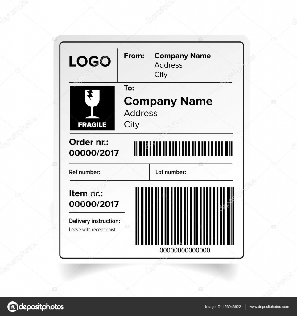 shipping label barcode template stock vector grounder 153043622. Black Bedroom Furniture Sets. Home Design Ideas