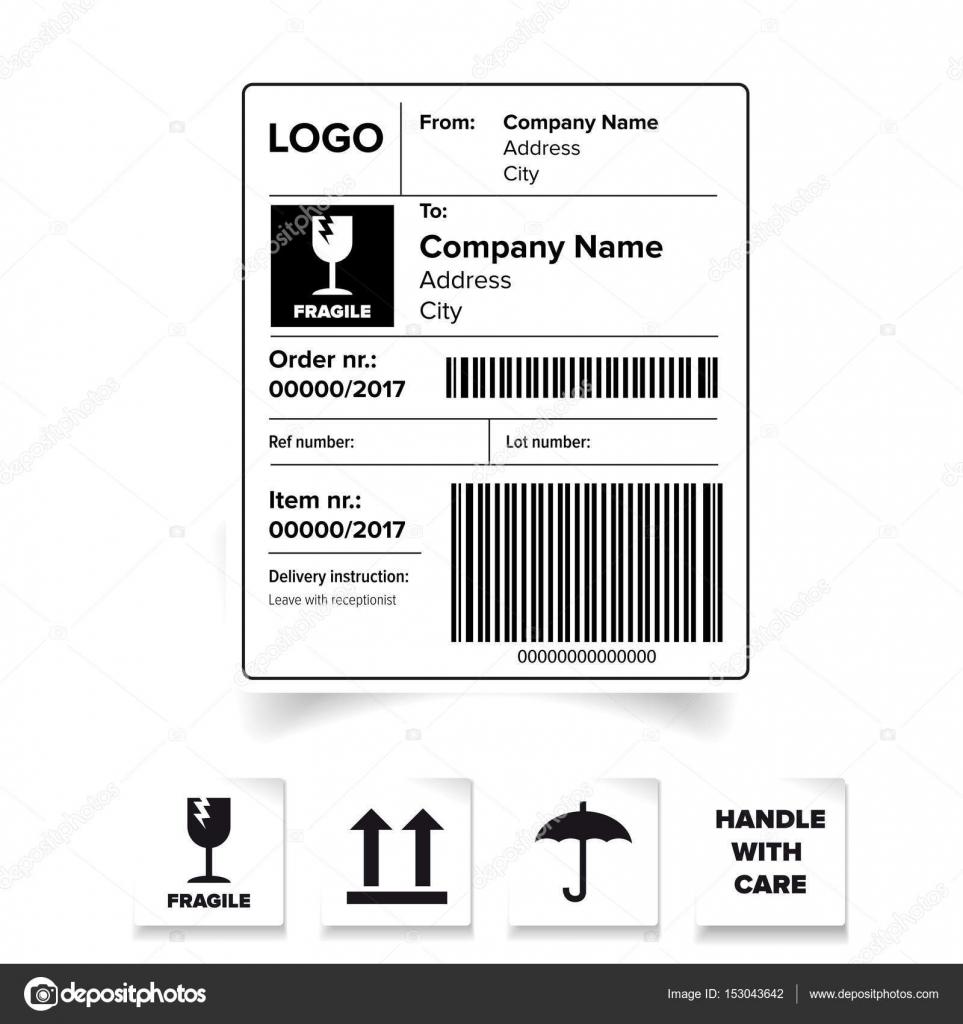Versand Etikettenvorlage barcode — Stockvektor © Grounder #153043642