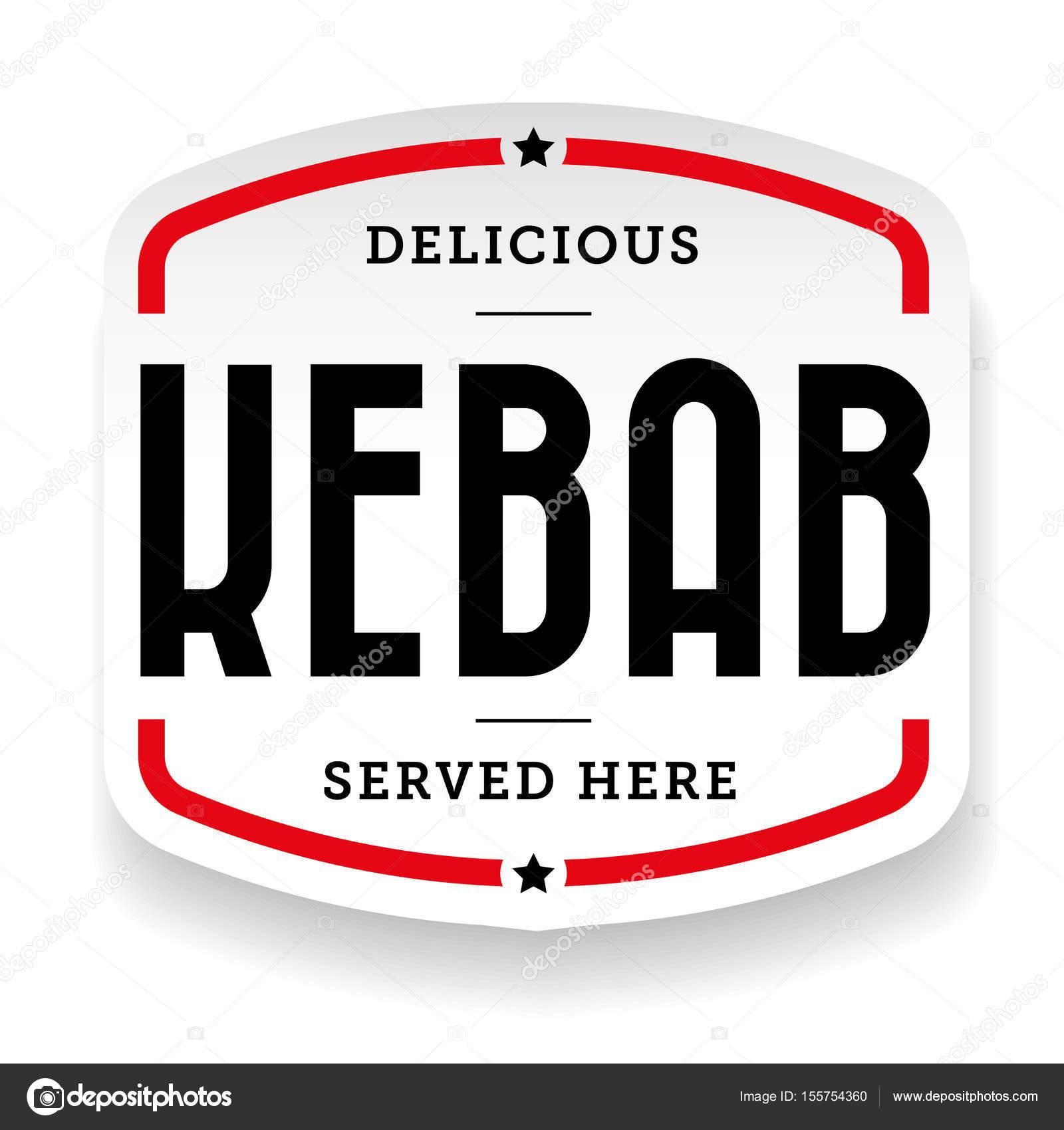 Kebab vintage signe autocollant vecteur vecteur par grounder