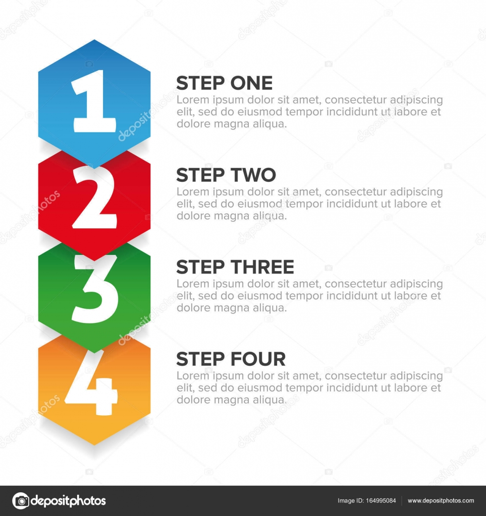 One Two Three Four steps progress bar — Stock Vector