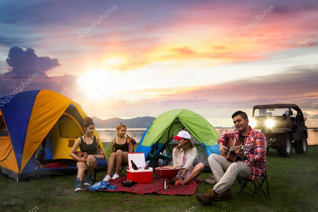 Camping of asian man and women group