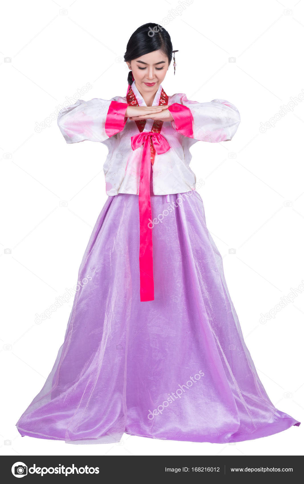 Korean lady in greeting action and korea original dress stock korean lady in greeting action and korea original dress stock photo m4hsunfo