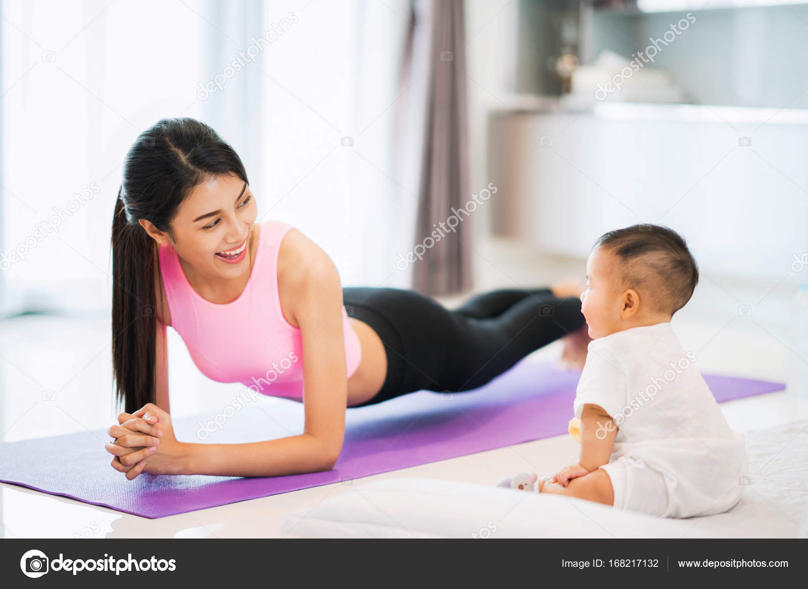 Asian Mother Fit And Play Yoga For Lose Weight After Delivery A New Born Baby In Home Mom Exercise Healthy Concept Photo By Anekoho