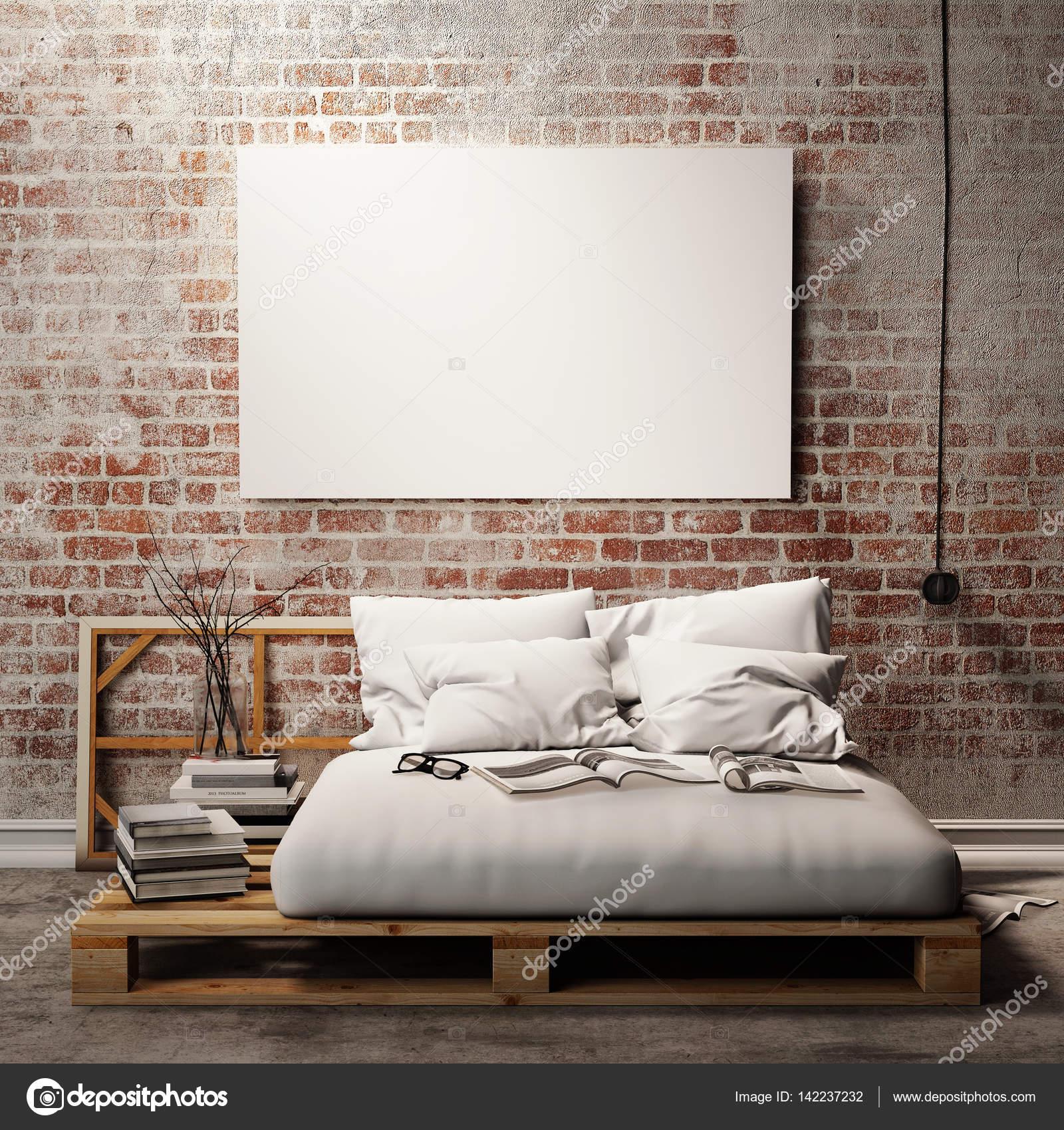 Mock Up Leer Poster An Der Wand Der Schlafzimmer, 3d Illustration  Hintergrund, Rendering
