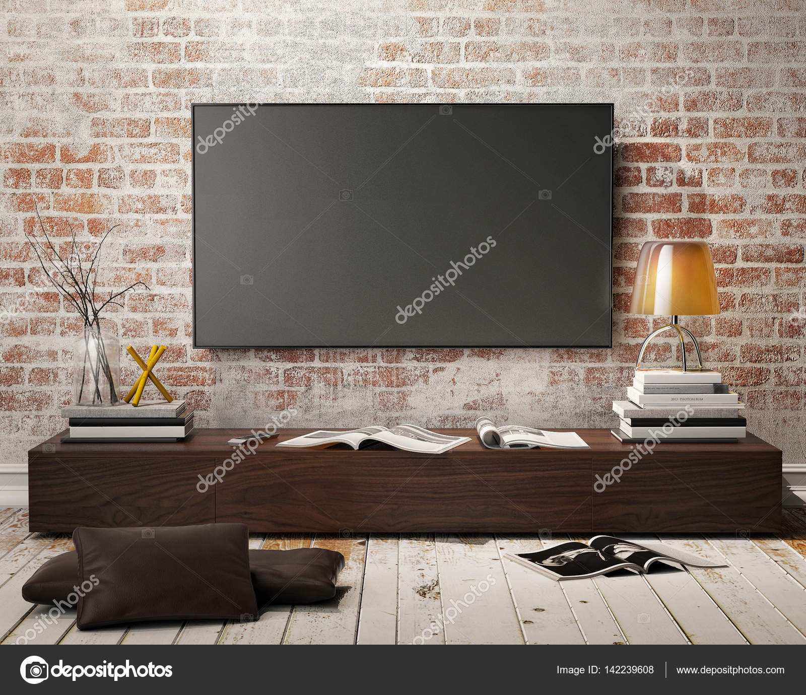 Mock Up Tv Screen With Vintage Hipster Loft Interior Background  # Meuble Tv Ypster