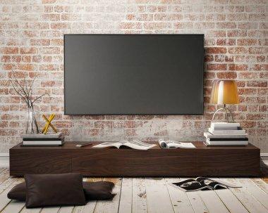 mock up tv screen with vintage hipster loft interior background