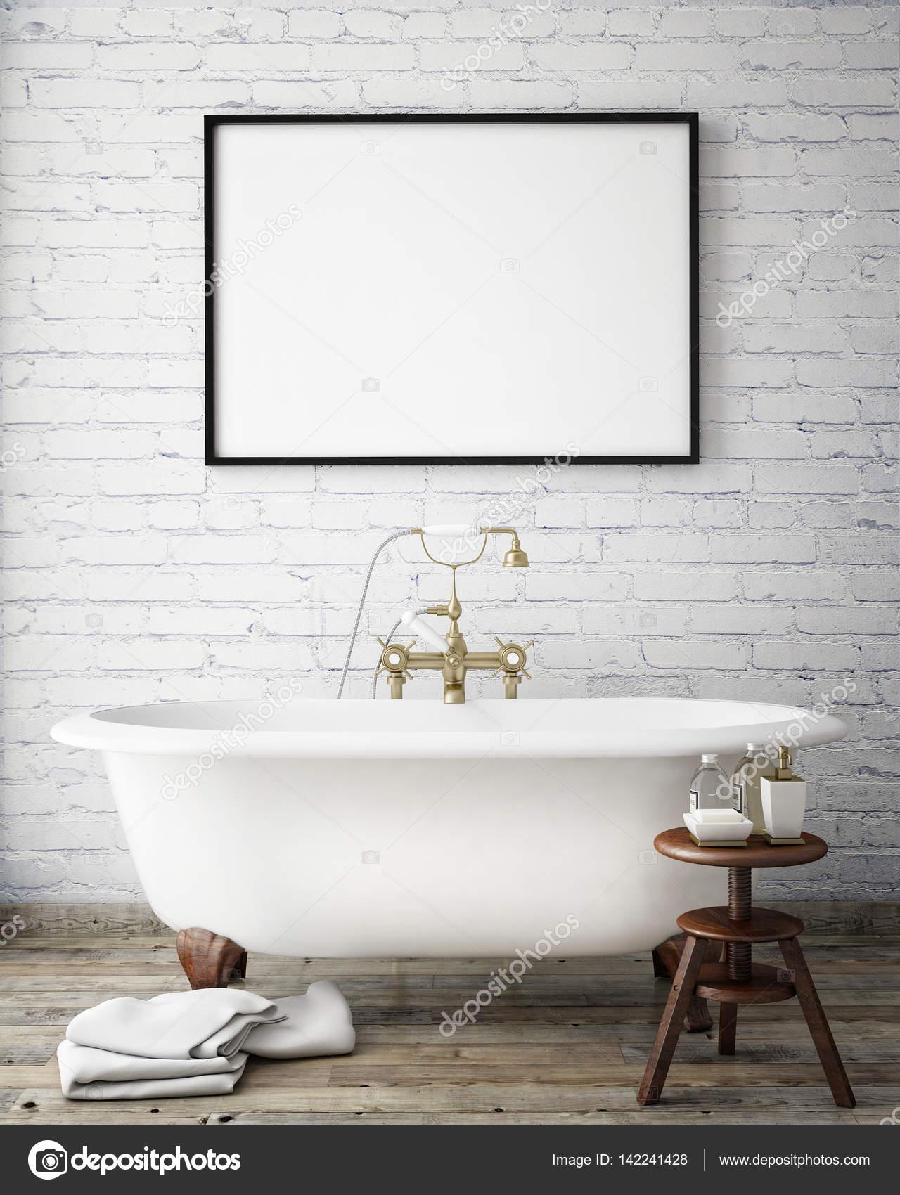 simulacros de fotogramas de póster en baño hipster vintage, fondo ...