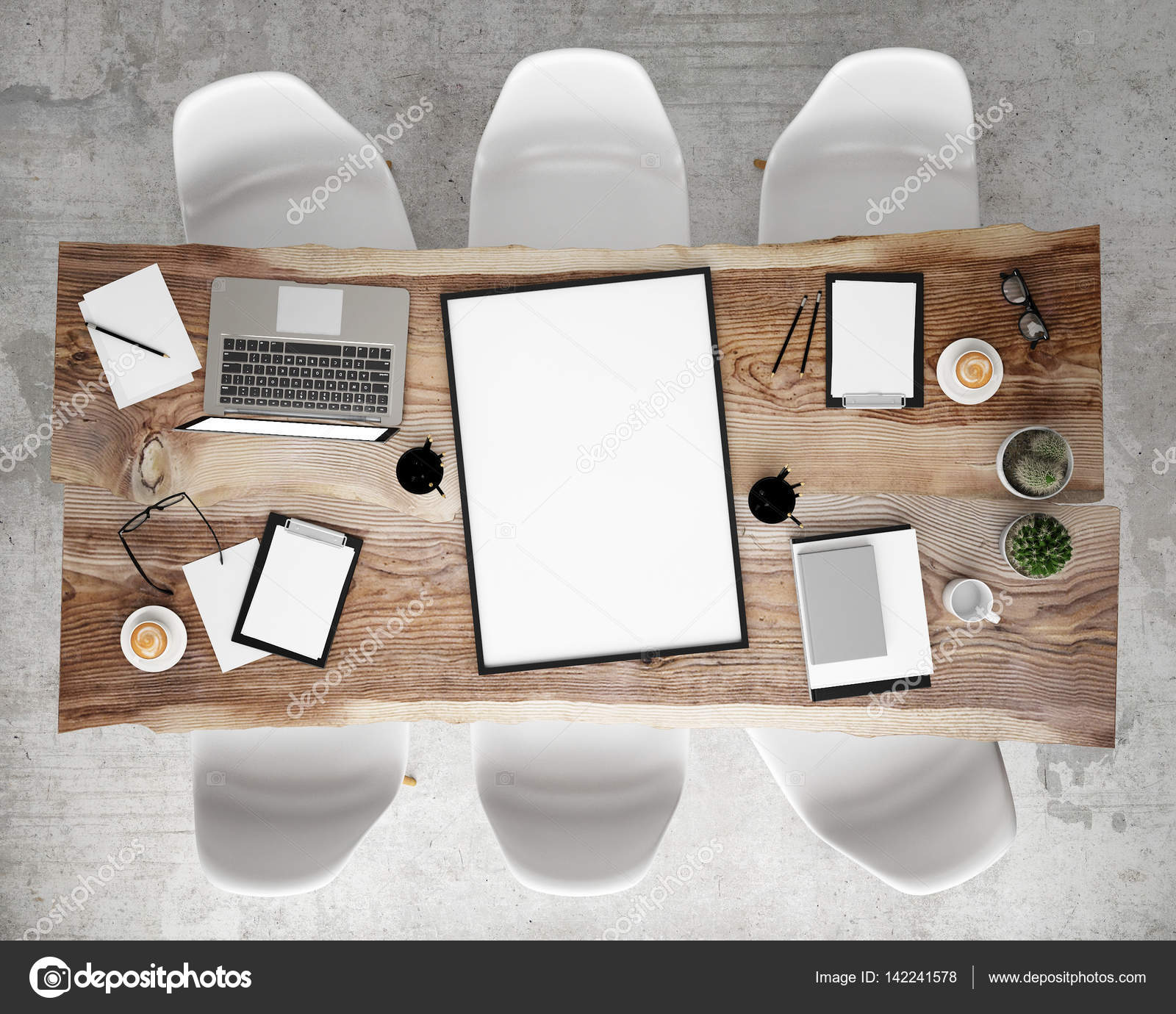 Mock Up Poster On Meeting Conference Table With Office Accessories - Conference table accessories