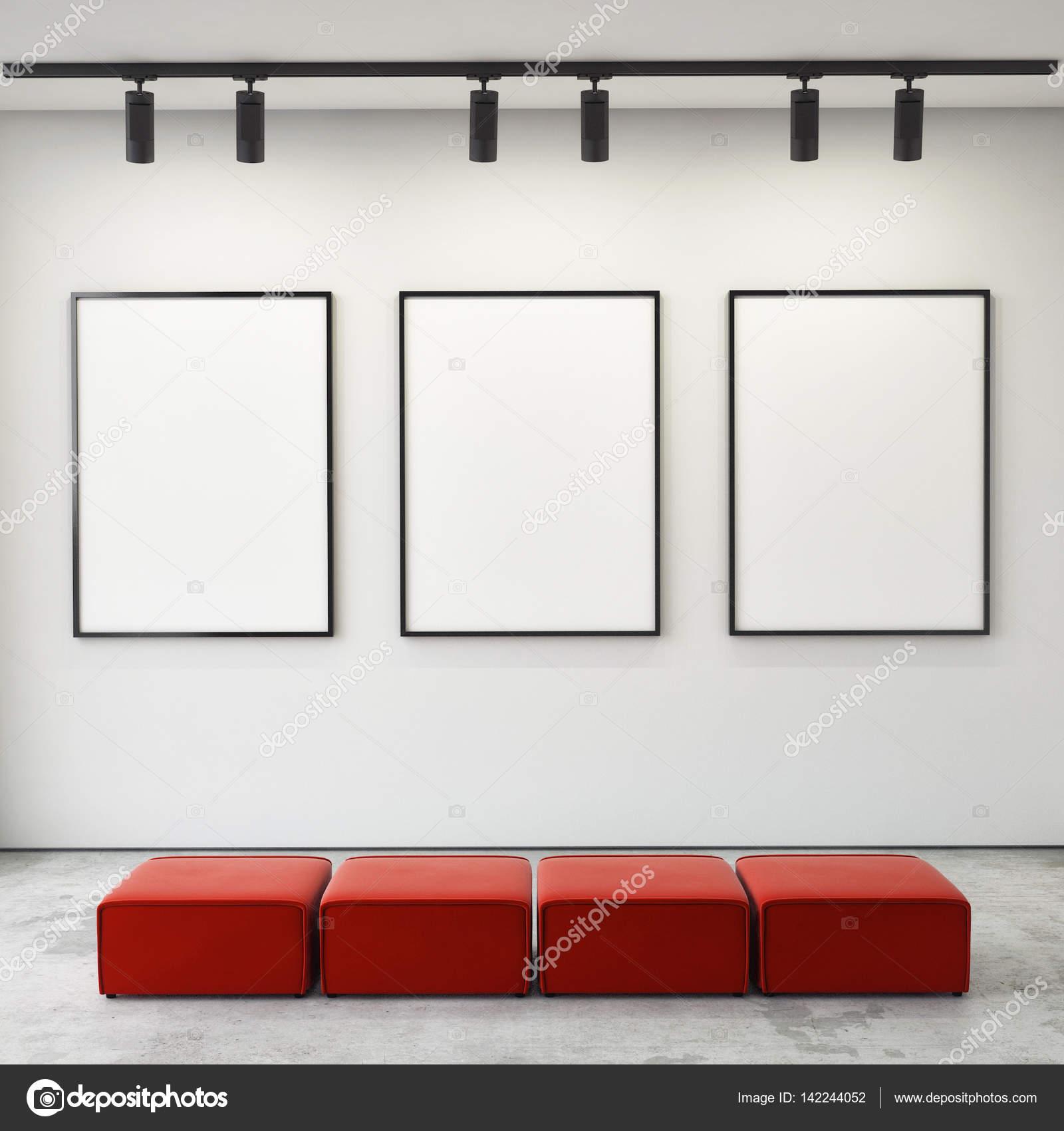 simulacros de marcos de carteles y de la lona en el fondo interior ...