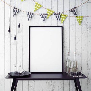 mock up poster frame in hipster interior background, party background, 3D render