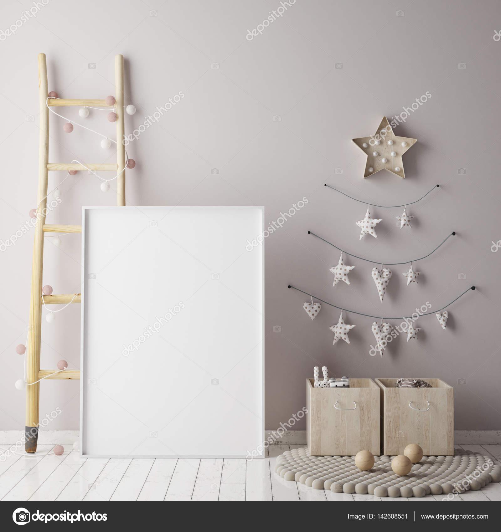 mock up posterrahmen im kinderzimmer mit christamas dekoration skandinavischen stil innen. Black Bedroom Furniture Sets. Home Design Ideas
