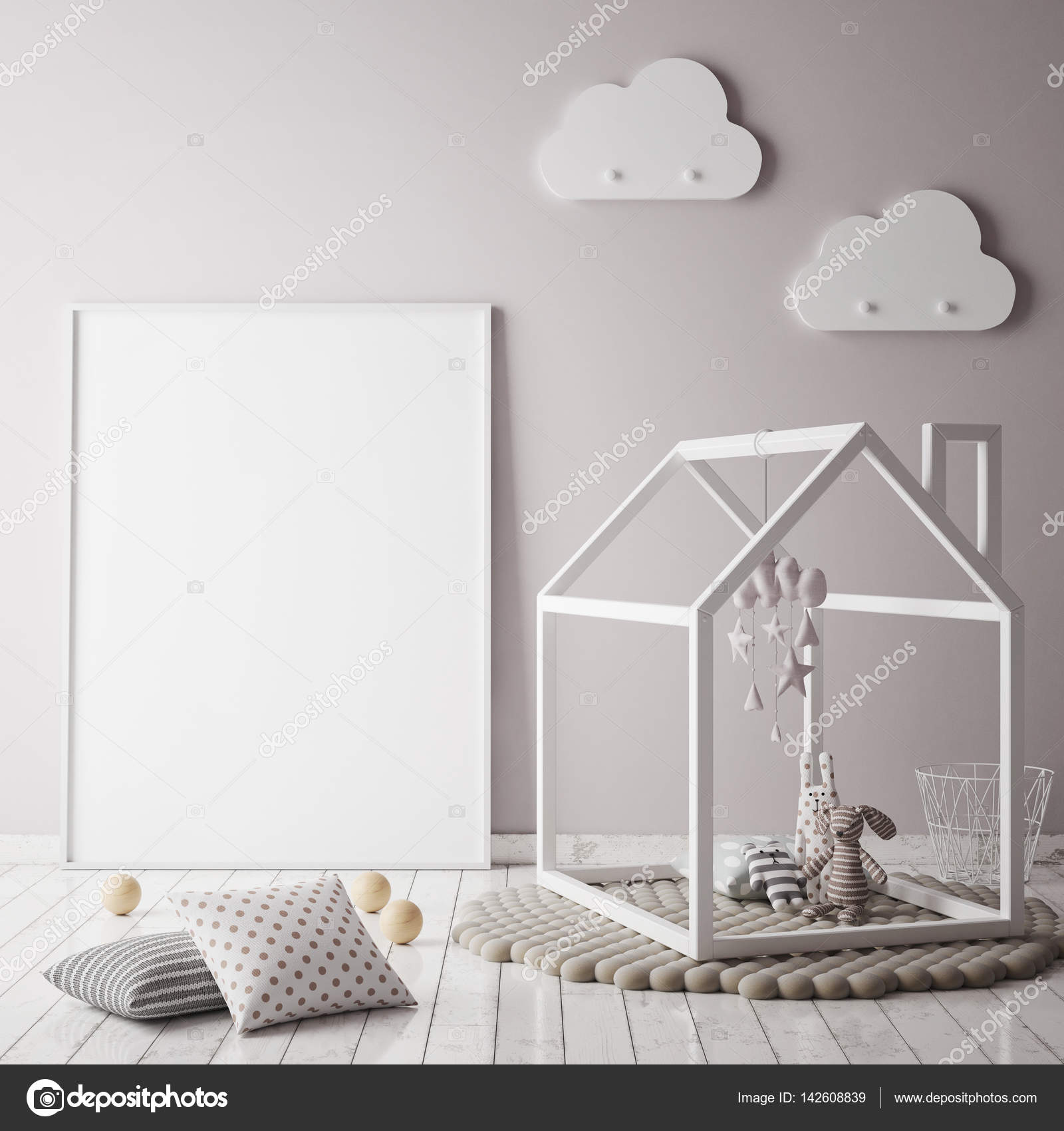 mock up posterrahmen im kinderzimmer skandinavischen stil innen hintergrund 3d render. Black Bedroom Furniture Sets. Home Design Ideas