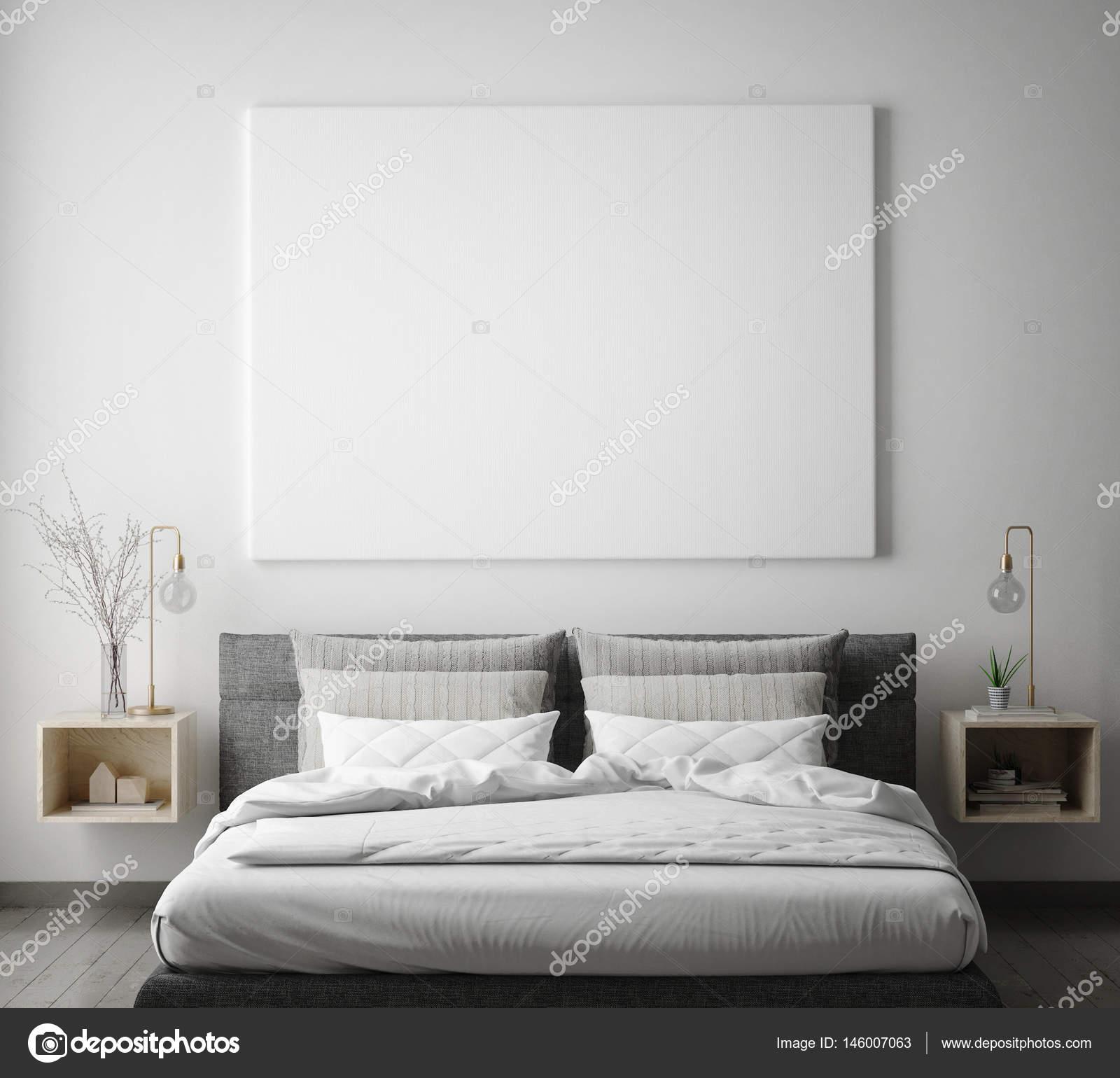 Mock-up Posterrahmen Hipster Schlafzimmer Inneren Hintergrund ...