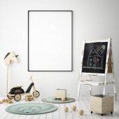 vysmívat se rámeček a v ložnici dětí, skandinávský styl interiéru pozadí, 3d vykreslení