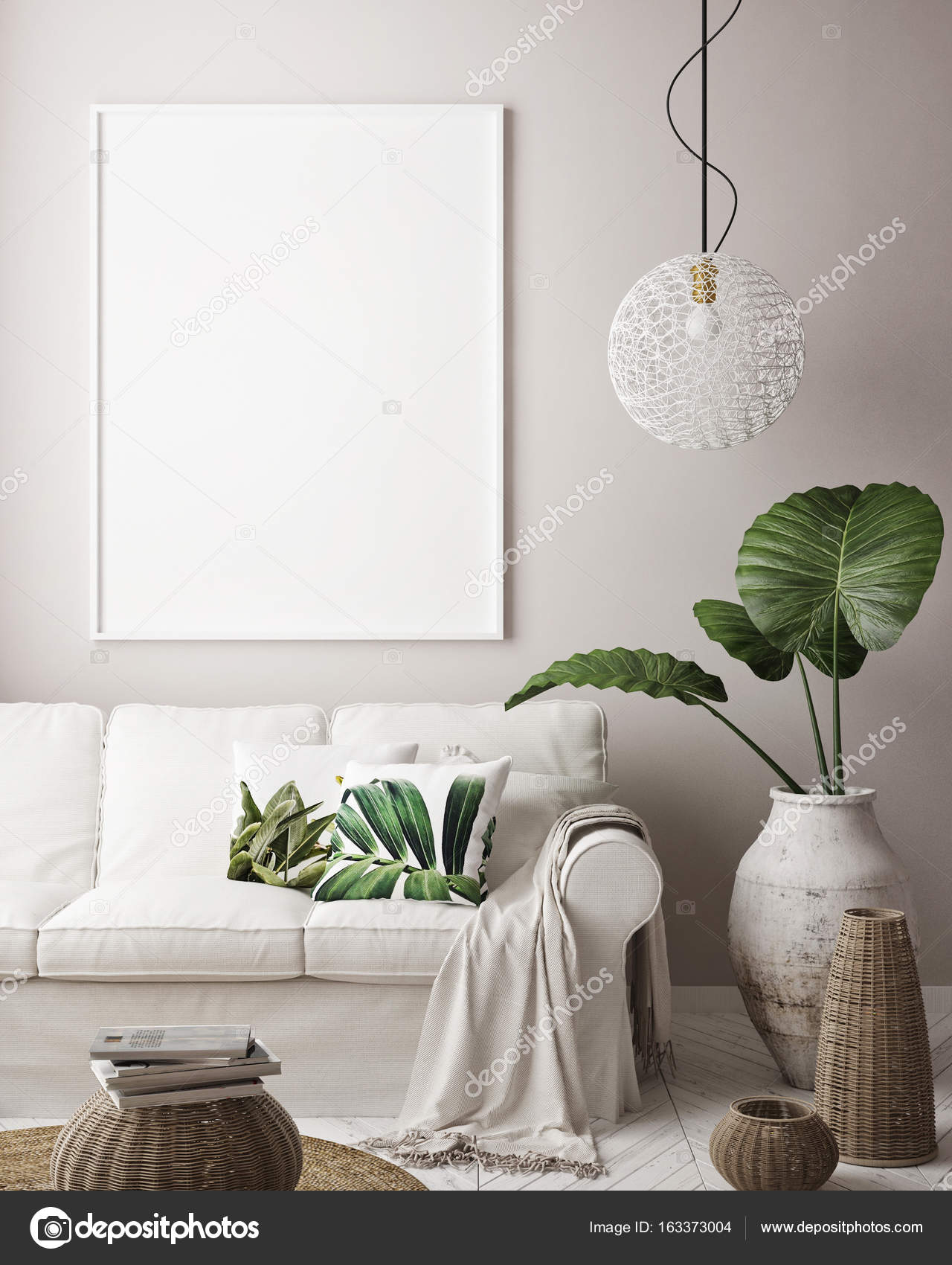 Mock-up Posterrahmen in tropischen Innenraum Hintergrund, modernen ...