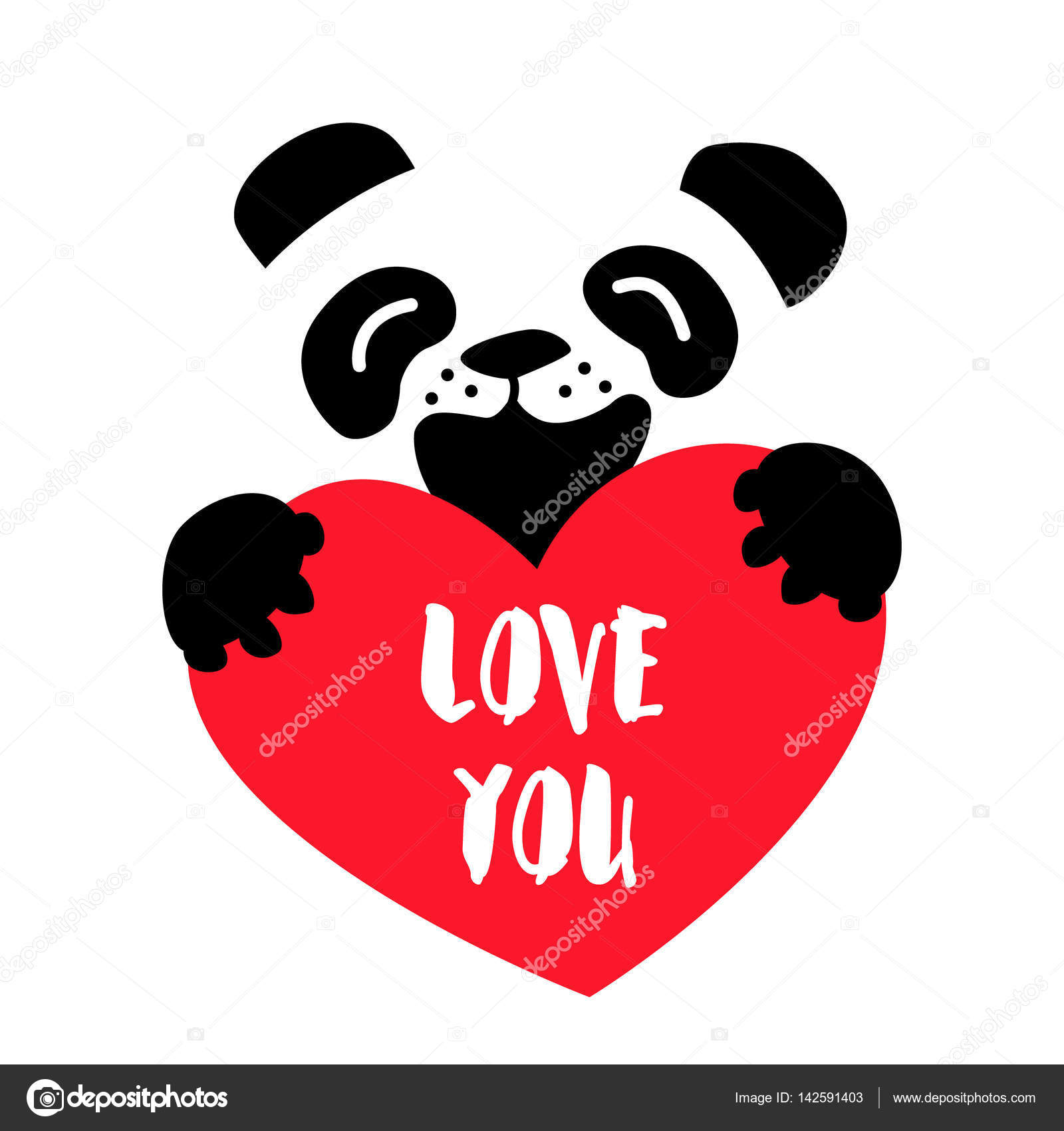 Urso De Desenho Animado E Grande Coração Vermelho Sobre Fundo Branco