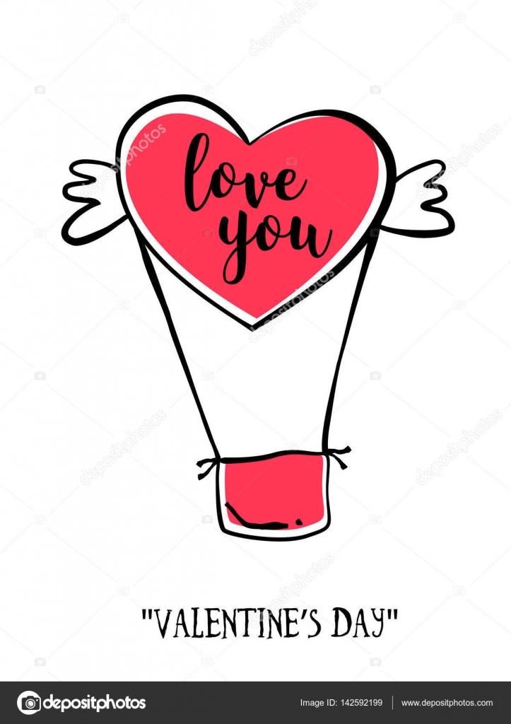 Cartão De Dia Dos Namorados No Estilo De Tatuagem Coração