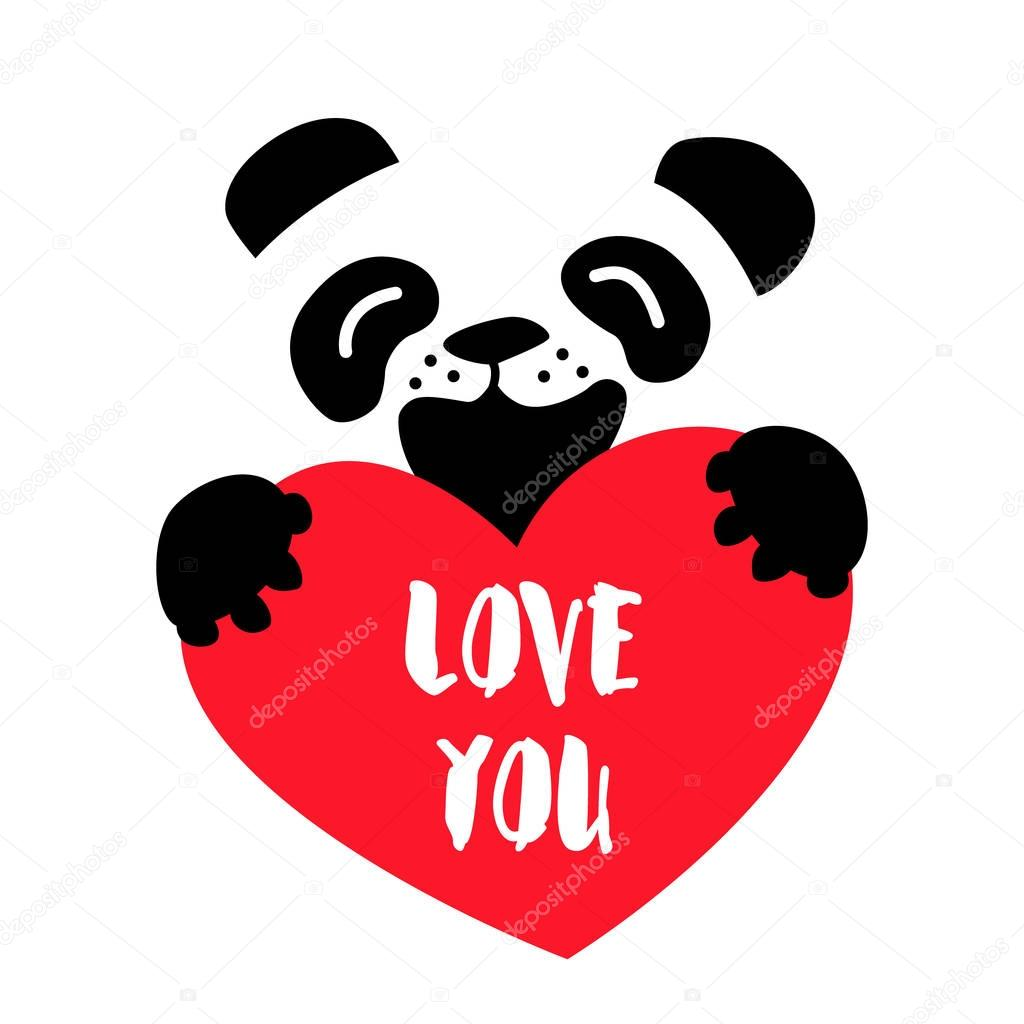 dessin anim ours et gros coeur rouge sur fond blanc je t 39 aime vector image vectorielle. Black Bedroom Furniture Sets. Home Design Ideas