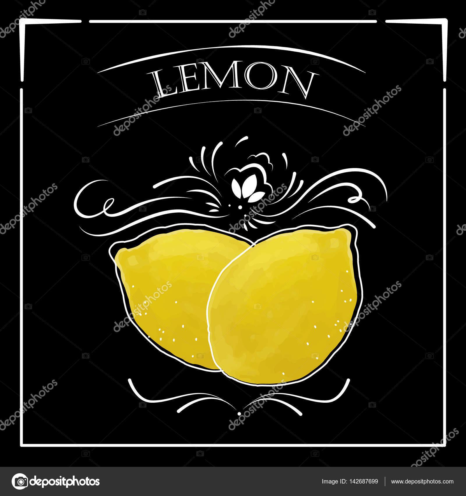 Stylizovana Kresba Kridou Na Tabuli S Citronem Stock Vektor