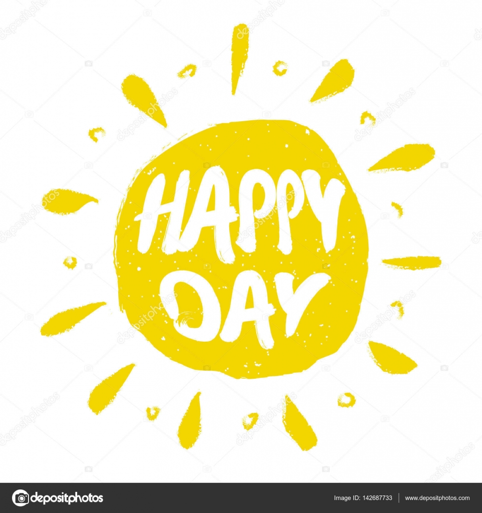 sun with hand drawn letters happy day stock vector yanabear