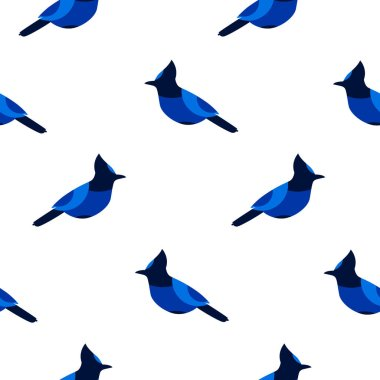 Seamless pattern with blue jay. Ornament for textile.