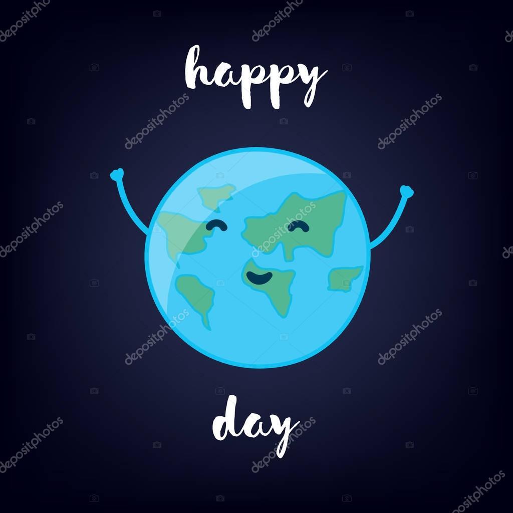 Cartoon Earth raises hands up. Happy Day.